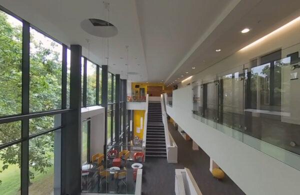 Communal area in Professor Stuart Hall Building